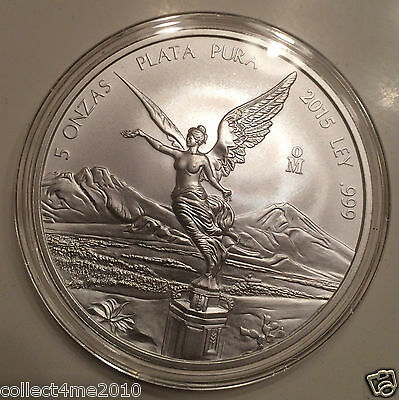 2015 - 5 oz Mexican Libertad Pure .999 Silver. Limited Mintage