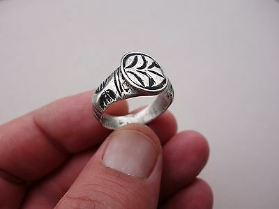 ancient late Roman or Byzantine silver engraved ring