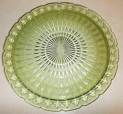 """Vintage Jeanette Windsor Diamond Green Chop Plate 13 5/8"""" Excellent Condition"""