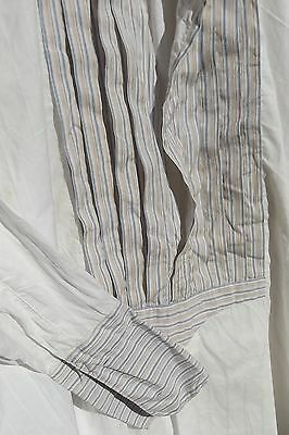 Antique French Sunday Best Shirt Tunic Chemise Cotton Pinstriped Bib Cuffs