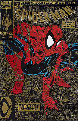 SPIDER-MAN #1   Aug 90 Gold cover  with Spiderman UPC box