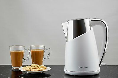 "NEW * MODERN Andrew J"" 3KW Fast Boil Cordless Kettle 1.7 L JUG Home Office WHITE"
