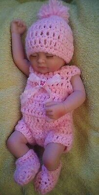 Hand made pink pom pom romper clothes set for 10 to 11 inch  reborn baby dolls