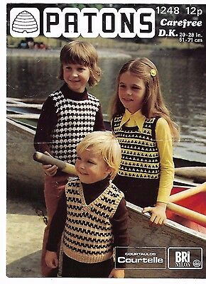 "Patons 1248 1970's Child's Tank Tops Vintage Knitting Pattern 20""-28"" Hippie"
