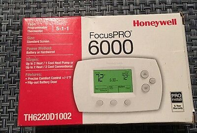 Focuspro 6000 Th6220D1002 Programmable Thermostat, 2 Heat/2 Cool,