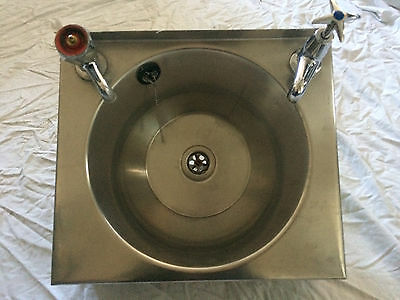 RESTAURANT STAINLESS STEEL HAND BASIN SINK INC TAPS WALL MOUNTED ( 380mmX330mm)