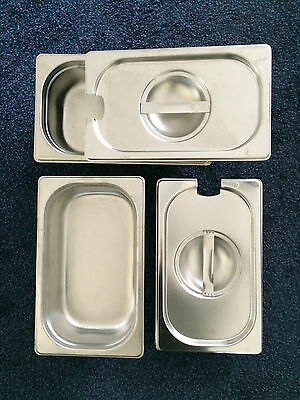 2 STAINLESS STEEL 1/4 GASTRONORM PAN AND LID 65mm DEEP 265mm LENGTH 160mm WIDTH