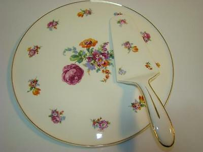 Erphila Germany Floral Cake Plate & Matching Server