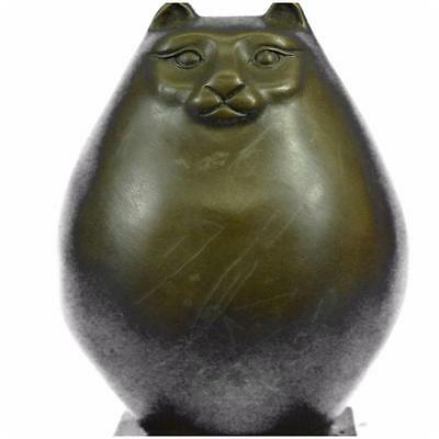 Handcrafted Detailed Hot Cast Cat By Botero Bronze Sculpture Statue Figurine
