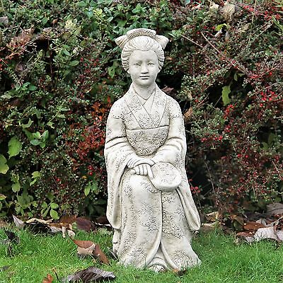 Geisha Large Japan Chinese Statue Oriental Stone Garden Ornament Detailed Decor
