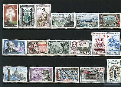 France 1960 Year Set Of 17 Stamps Mnh