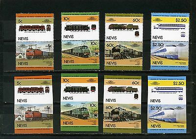 Nevis 1984 Locomotives /trains Set Of 16 Stamps Perf.& Imperf.mnh
