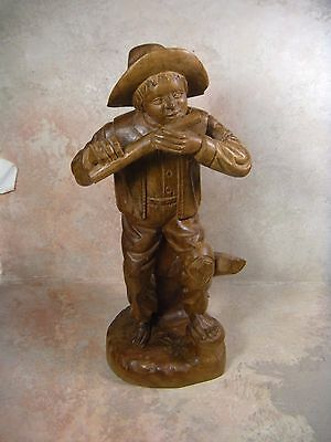 Vintage Hand Carved Wood  Man Playing the flute Figurine 12'' TALL