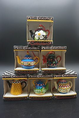 Lot of (6) Mary Engelbreit Tea Pot collection Christmas Ornaments- NEW IN BOXES