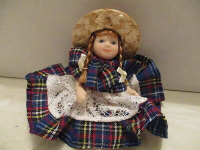 """Small Miniature Porcelain 3"""" H Doll With Movable Arms/Legs Plaid Dress Straw Hat"""
