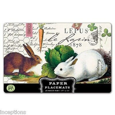 Michel Design Works 17 x 11 Paper Placemats Pad/25 Bunnies Le Lapin - NEW