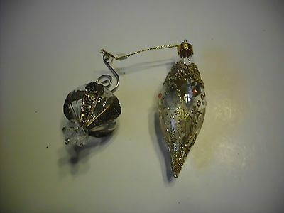 Christmas Ornaments Glass Bulb And Tear Drop Ornate Gorgeous