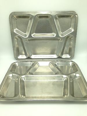 Pair 2 Vtg Stainless Steel Metal Divided Food Trays Military Mess Hall Cafeteria