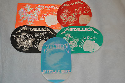 Lot of 5 METALLICA Satin Backstage Passes! Working, Pre-show, Meet and Greet! #2