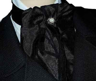 Black Flock Taffeta Cravat Jabot Victorian Steampunk Regency Button Costume Goth