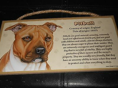 "Origin Of The Pitbull Terrier Hanging Sign Plaque 5""x10"" Wooden"
