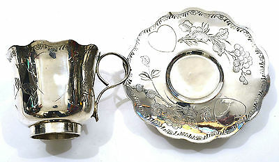 Early 20C Chinese Silver Tea Cup & Saucer with Flowers & Heart 140 gram