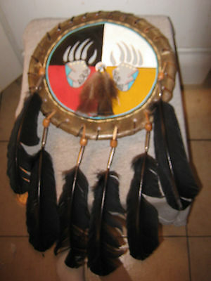 Authentic Native American Rawhide Shield-Bear Claw-Outstanding Craftmanship