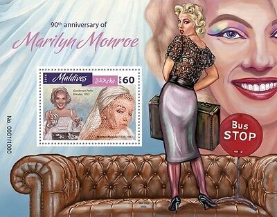 Z08 IMPERFORATED MLD16403b MALDIVES 2016 Marilyn Monroe MNH