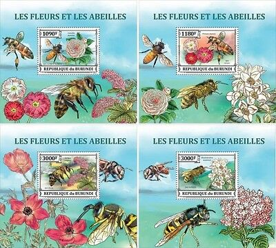 Z08 BURdelux81 BURUNDI 2016 Bees and Flowers 4 x s/s MNH