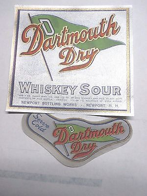 Vintage Dartmouth Dry Whiskey Sour Label with Neck Label - Newport NH