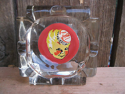 "Vintage Coca-Cola ""Sprite Boy"" Glass Advertising Ashtray"