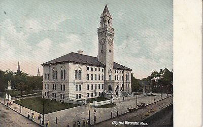 Worcester Ma City Hall Early 1900's Vintage Postcard