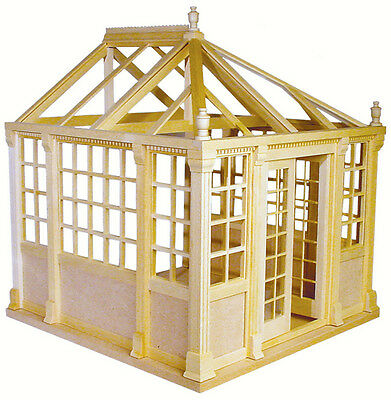 DOLLHOUSE MINIATURE Building CONSERVATORY KIT - UNFINISHED - REAL WOOD