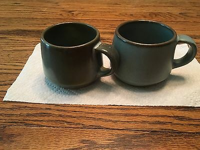 Set of 2 Vintage Frankoma Woodland Moss Blue & Brown Coffee Mugs Cups Mold #6 c