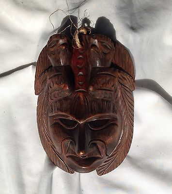 Antique Carved Wooden Mask Guatemala Tribal Folk Art Birds Quetzal