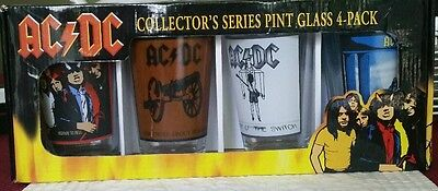 AC/DC Collector's Series Pint Glass 4-Pack, Album Cover Glasses,