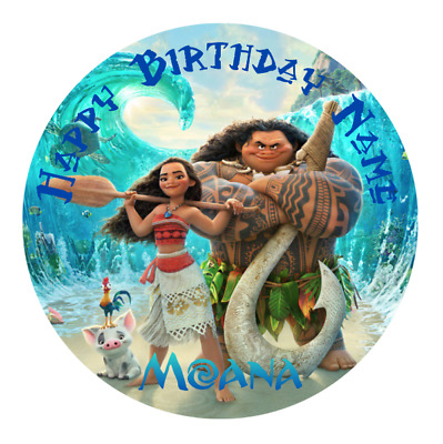Moana Personalised Edible Kids Party Cake Decoration Topper Round Image