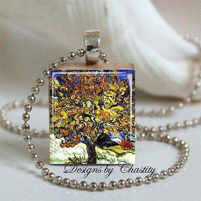 Mulberry Tree Necklace Van Gogh Vintage Altered Art Charm unique Artist gift