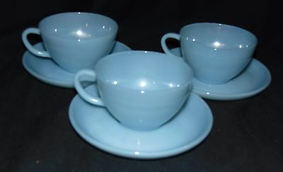 3 Fire King TURQUOISE BLUE  *CUPS & SAUCERS*