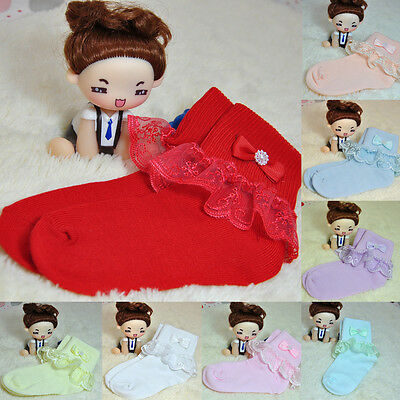 Fashion Lace Bow Soft Cotton Breathable Socks Toddlers Kids Girls Tights