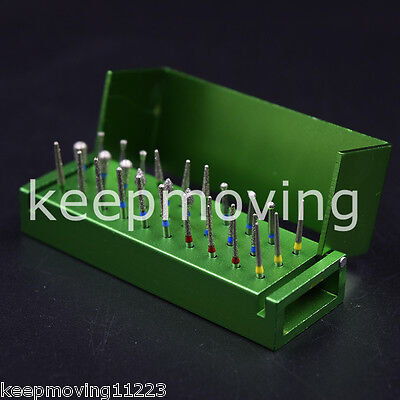 30 Pcs Dental Diamond Polishing Burs FG1.6mm + 1x Disinfection Burs Holder Block