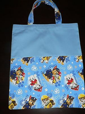 Handmade library bag with handle first name embroidered free(Paw Patrol ) Print