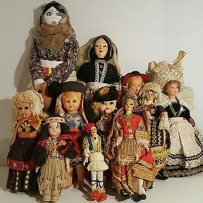 Lot  Vintage Cloth Mask Face Dolls Hand Painted International Costume Celluloid