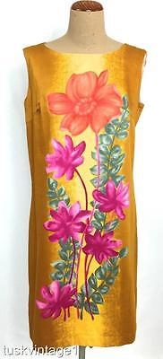 VINTAGE 60s hand screen printed COTTON Japanese ISLAND FLORAL shift dress 10