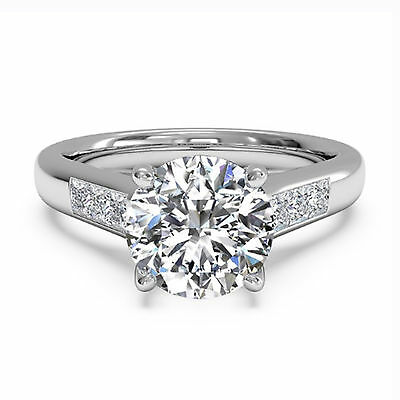 1.05 Ct Round Cut Diamond Anniversary Ring 14K White Gold Solitaire Rings Size 6
