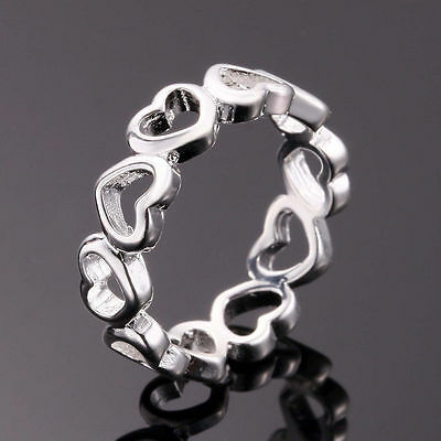 925 Sterling Silver Filled Love Heart Ring Women Fashion Jewelry Size 6 7 8 9
