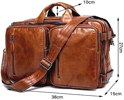 Men's Excellent Genuine Leather Backpack Briefcase Messenger Tote Shoulder Bag