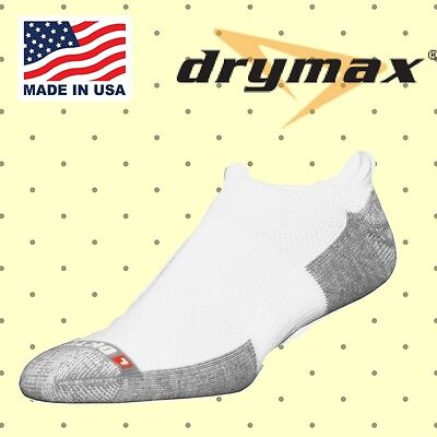 Drymax Tennis No Show Tab Socks - Small, White - 3-Pair Pack - Made in the USA!