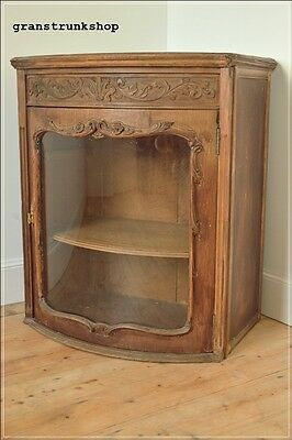antique french cupboard cabinet wooden glass bow front   UK DELIVERY
