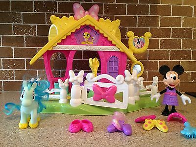 Fisher Price Disney Minnie Mouse Jump And Style Pony Horse Stable Toy Play Set